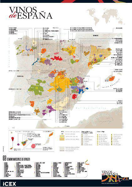 Spanische Karte.Spaniens Weine Alle Weinanbaugebiete Spaniens Auf Einen Blick